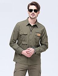 cheap -Men's Hiking Shirt / Button Down Shirts Long Sleeve Outdoor Sunscreen Breathable Quick Dry Wear Resistance Convert to Short Sleeves Top Autumn / Fall Spring Chinlon Army Green Camping / Hiking