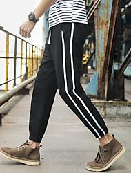 cheap -Men's High Rise Woven Pants Cotton Sports Bottoms Running Fitness Lightweight Quick Dry Plus Size Stripes Black Dark Grey Dark Navy Khaki / Micro-elastic