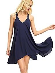 cheap -Women's Daily Wear Basic Mini Swing Dress - Solid Color Deep V Summer Black Blushing Pink Yellow L XL XXL