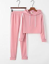 cheap -Women's Sporty Set - Striped Pant Hooded
