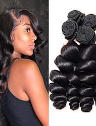 cheap -4 Bundles Indian Hair Loose Wave Virgin Human Hair Human Hair Natural Color Hair Weaves / Hair Bulk Bundle Hair One Pack Solution 8-28 inch Natural Color Human Hair Weaves Cosplay Best Quality Hot