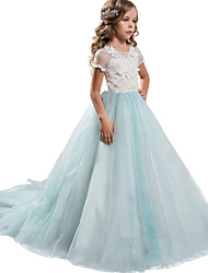 cheap -Princess Floor Length / Long Length Wedding / Formal Evening / Pageant Flower Girl Dresses - Lace / Tulle Short Sleeve Jewel Neck with Petal / Lace / Appliques