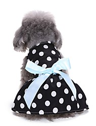 cheap -Dogs Dress Dog Clothes Black / White White Pink Costume Bichon Frise Schnauzer Pekingese Terylene Polka Dot Character Bowknot Sweet Style Casual / Daily XS S M L
