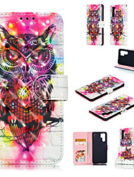 cheap -Case For Huawei Huawei P20 / Huawei P20 Pro / Huawei P20 lite Wallet / Card Holder / with Stand Full Body Cases 3D Cartoon / Owl Hard PU Leather