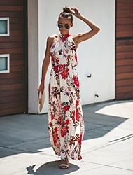 cheap -Fashion Floral Sundresses Women's Swing Sundress White Light gray M L XL