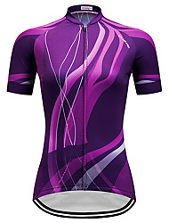 cheap -Women's Short Sleeve Cycling Jersey Purple Stripes Gradient Plus Size Bike Jersey Top Mountain Bike MTB Road Bike Cycling Breathable Quick Dry Sports Clothing Apparel / Micro-elastic