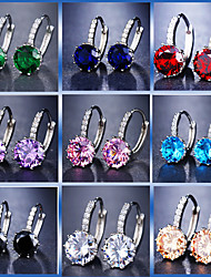 cheap -Women's Hoop Earrings Lever Back Earrings Radiant Cut Luxury bridesmaid Imitation Diamond Earrings Jewelry Blue / Light Blue / Champagne For Wedding Party Birthday Going out Bar 1 Pair