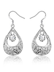 cheap -Women's Clear Cubic Zirconia Drop Earrings Earrings Briolette Drop Stylish Dangling Trendy Fashion Elegant bridesmaid Silver Plated Earrings Jewelry Silver For Birthday Engagement Gift Daily Date 1