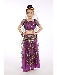 cheap -Indian Girl Bollywood Kid's Girls' Asian Sequins Belly Dance Costume For Halloween Performance Festival Sequin Polyster Long Length Top Skirt Headpiece / Wristlet