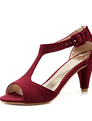 cheap -Women's Sandals Summer Cone Heel Peep Toe Vintage Sexy Sweet Daily Party & Evening Solid Colored Leather Black / Red / Burgundy