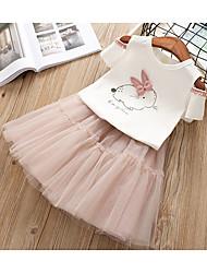 Недорогие -Дети Дети (1-4 лет) Девочки Активный Пасха Rabbit Мультипликация С короткими рукавами Набор одежды Розовый