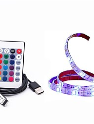 cheap -2m RGB Strip Lights 60 LEDs SMD5050 10mm 1 24Keys Remote Controller RGB+White Waterproof / USB / Decorative 5 V / USB Powered 1pc