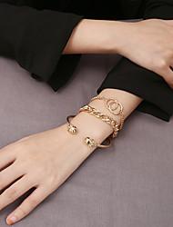 cheap -3pcs Women's Chain Bracelet Bracelet Bangles Cuff Bracelet Classic Precious Interlocking Stylish Classic Alloy Bracelet Jewelry Gold For Wedding Gift Daily Date Festival