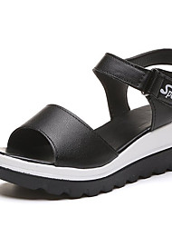 cheap -Women's Sandals Wedge Heel PU Casual Spring Black / White