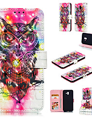 cheap -Case For Samsung Galaxy J6 (2018) / J6 Plus / J4 (2018) Wallet / Card Holder / with Stand Full Body Cases 3D Cartoon / Owl Hard PU Leather