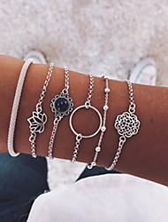 cheap -6pcs Women's Bracelet Bangles Bracelet Earrings / Bracelet Vintage Style Flower Botanical Lotus Simple Classic Vintage Fashion Hip-Hop Glass Bracelet Jewelry Silver For Birthday Gift Daily Evening