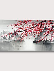 cheap -Oil Painting Hand Painted Horizontal Abstract Comtemporary Modern Stretched Canvas