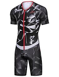 cheap -Malciklo Men's Women's Short Sleeve Triathlon Tri Suit Black Bike Breathable Reflective Strips Sweat-wicking Sports Geometric Mountain Bike MTB Road Bike Cycling Clothing Apparel / Stretchy