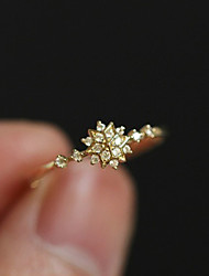 cheap -Ring Crystal Classic Gold 18K Gold Plated Austria Crystal Snowflake Simple Unique Design Romantic 1pc 6 7 8 9 / Women's / Promise Ring / Tail Ring