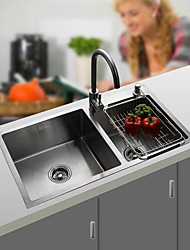 cheap -Kitchen Sink- 304 Stainless Steel Brushed Rectangular Undermount Double Bowl