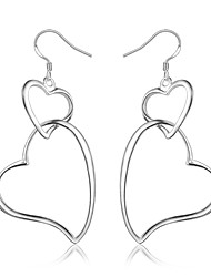 cheap -Women's Drop Earrings Earrings Geometrical Heart Stylish Trendy Fashion Elegant Silver Plated Earrings Jewelry Silver For Birthday Engagement Gift Daily Date 1 Pair