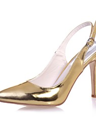 cheap -Women's Patent Leather Spring & Summer Minimalism Heels Stiletto Heel Pointed Toe Buckle Gold / Silver / Blue / Party & Evening