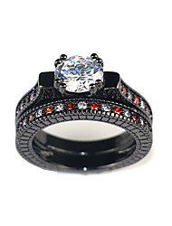 cheap -Women's Ring Multi Finger Ring AAA Cubic Zirconia 2pcs Black Alloy irregular Sweet Engagement Ceremony Jewelry Geometrical Precious Lovely