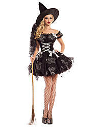 cheap -Witch Dress Cosplay Costume Hat Adults' Women's Dresses Halloween Halloween Carnival Masquerade Festival / Holiday Chinlon Nylon Black Carnival Costumes Printing