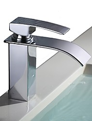 cheap -Bathroom Sink Faucet - Waterfall Chrome Free Standing Single Handle One HoleBath Taps / Stainless Steel