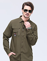 cheap -Men's Hiking Shirt / Button Down Shirts Long Sleeve Outdoor Sunscreen Breathable Quick Dry Stretchy Convert to Short Sleeves Top Autumn / Fall Spring POLY Elastane Camping / Hiking / Caving Traveling