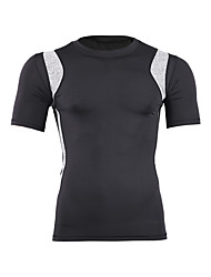 cheap -Men's Compression Shirt Short Sleeve Compression Base layer T Shirt Top Plus Size Lightweight Breathable Quick Dry Soft Sweat-wicking Grey Cotton Road Bike Mountain Bike MTB Basketball Stretchy