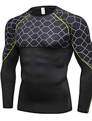 cheap -Men's Compression Shirt Long Sleeve Compression Base Layer T Shirt Top Lightweight Breathable Quick Dry Soft Sweat-wicking Gray+Red Gray+Green Red Lycra Winter Road Bike Fitness Mountain Bike MTB