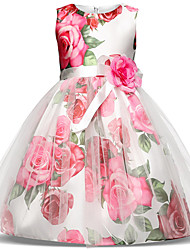 cheap -Princess Midi Party / Birthday / Pageant Flower Girl Dresses - Tulle / Poly&Cotton Blend Sleeveless Jewel Neck with Bow(s) / Tier / Pattern / Print