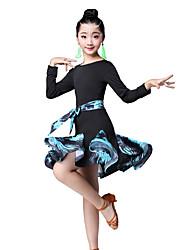 cheap -Latin Dance / Kids' Dancewear Dresses Girls' Performance Nylon Pattern / Print / Ruching / Split Joint Long Sleeve High Dress