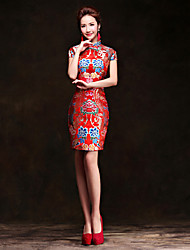 cheap -Adults' Women's Designed in China Chinese Style Wasp-Waisted Chinese Style Cheongsam Qipao For Performance Engagement Party Bridal Shower Brocade Above Knee Cheongsam