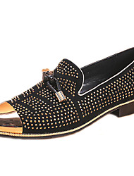 cheap -Men's Novelty Shoes Nappa Leather Fall & Winter Casual / British Loafers & Slip-Ons Non-slipping Black / Rhinestone / Party & Evening / Beading / Party & Evening / Dress Shoes