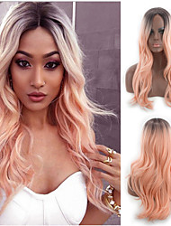 cheap -Synthetic Wig Body Wave Middle Part Wig Ombre Medium Length Black / Pink Synthetic Hair 20INCH Women's Adjustable Heat Resistant Classic Ombre