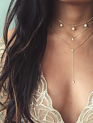 cheap -Women's Y Necklace Layered Necklace Star Modern Gold Plated Gold 30 cm Necklace Jewelry 1pc For Evening Party Going out Club Bar