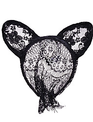 cheap -Mascot Easter Bunny Ears Headband Adults' Women's Cosplay Halloween Carnival Easter Festival / Holiday Lace Black Carnival Costumes Lace