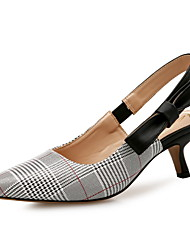 cheap -Women's Sandals Spring Fall Pumps Pointed Toe Office & Career Home Plaid / Check PU Gray