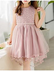 cheap -Kids Girls' Sweet Cute Dusty Rose Solid Colored Mesh Sleeveless Dress White