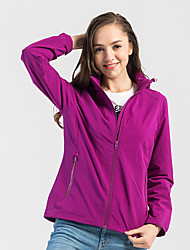 cheap -DZRZVD® Women's Hiking Skin Jacket Hiking Jacket Outdoor Solid Color Windproof Sunscreen Breathable Quick Dry Hoodie Top Single Slider Outdoor Exercise Winter Sports Violet / Black / Red