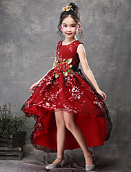 cheap -Princess Asymmetrical Wedding / Party / Pageant Flower Girl Dresses - Satin / Tulle Sleeveless Jewel Neck with Belt / Appliques