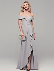 cheap -Sheath / Column Elegant & Luxurious Prom Formal Evening Dress Off Shoulder Short Sleeve Floor Length Spandex with Rhinestone Split Front 2021