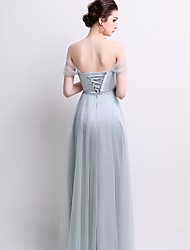 cheap -A-Line Off Shoulder Floor Length Tulle Bridesmaid Dress with Criss Cross