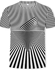 cheap -Men's Daily Club Street chic / Punk & Gothic T-shirt - Geometric / Color Block / Graphic Print Black