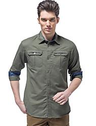 cheap -Men's Hiking Shirt / Button Down Shirts Long Sleeve Outdoor Breathable Quick Dry Softness Multi Pocket Shirt Top Autumn / Fall Spring Cotton Army Green Khaki Cycling / Bike Traveling