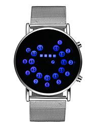 Недорогие -Муж. Нарядные часы Кварцевый Нержавеющая сталь Серебристый металл Светящийся Цифровой Блестящие Мода - Оранжево-красный Синий Один год Срок службы батареи