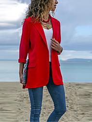 cheap -Women's Daily Basic Spring & Fall Regular Blazer, Solid Colored Notch Lapel Long Sleeve Manteau Femme Polyester Black / Red / Navy Blue M / L / XL