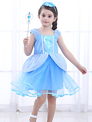 cheap -Cinderella Dress Cosplay Costume Flower Girl Dress Girls' Movie Cosplay A-Line Slip Retro Vintage Princess Blue Dress Halloween Carnival Masquerade Tulle Cotton / Sleeveless